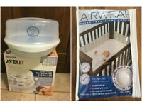 Philips Avent Microwave Steam Steriliser & Airwrap 4 Sided Mesh Cot Bumper White Air Wrap