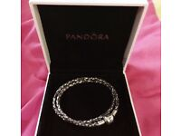 Genuine Pandora wrap leather bracelet with or without charms