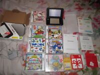 3DS XL SILVER AND BLACK CONSOLE BOXED BUNDLE,7 GAMES,CHARGER