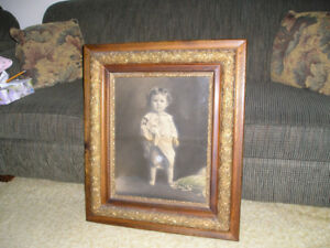 Antique Picture of a Child in a Ash Wood & Gold Frame
