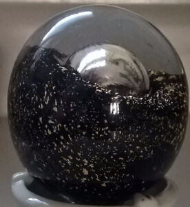 Vintage Blown Clear Glass with Gold Flecks On Black and a Bubble