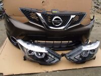 Car part Front end: Bumper Grill and LHD headlight for Nissan Qashqai facelift 2010-2013