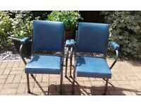 A Pair of 1950s Cinema Chairs / Seats - Retro Vintage Industrial Stacking