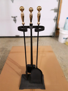 Fireplace tools and stand with poker, brass handles