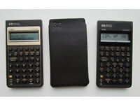 Set of Hewlett Packard business calculators, HP 17Bii with original pouch and HP 10B