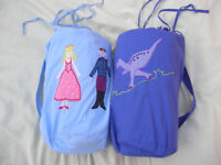 2 Decorated Children's Sleeping Bags with matching carry bags, 1 Princess & Castle and 1 Dinosaurs