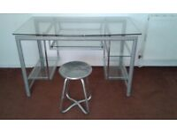 Glass Computer Desk & Stool - DELIVERY AVAILABLE
