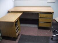 L shaped office desk & chair