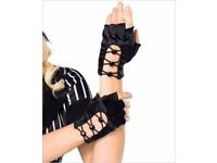 Gloves Leg Avenue Criss Cross with Button Fingerless Gloves Black New With Tags