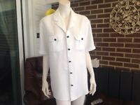 """Ladies """" Part Two """" shirt / top. Size L. White linen,with denim buttons. Immac. Cond."""