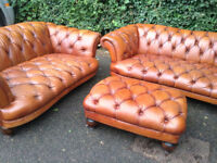 Tetrad DFS Oskar Sofa Suite - Sofa x 2 and footstool - Leather Chesterfield style