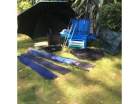 Box seat and trays,rods and bag,umbrella,landing net and bag,tackle boxes.reels.Good condition £45
