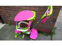 Pink Smart trike with handle bar