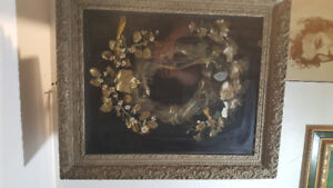 ***** Remarkable  wreath shadow box, 1800s ****