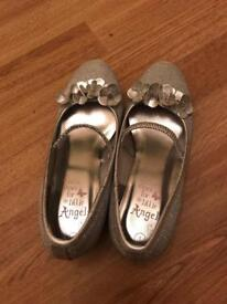 Monsoon girls silver shoes size 1