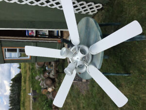 52 inch white ceiling fan with 4 lights.