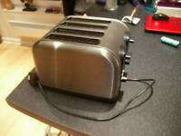 4 slice toaster, steel/silver/black, good condition