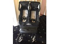 BABY JOGGER DOUBLE BUGGY MODEL CD12 black and silver with raincover