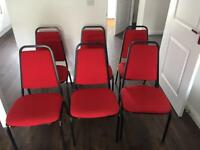 Meeting room / Conference room chairs x6 (red)