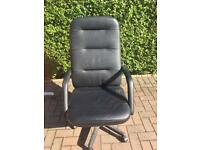 Office desk chair in black leather
