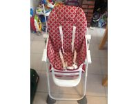 Chicco pocket lunch high chair red wave