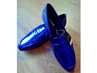 "LADIES METALLIC BLUE FLAT SLIP ON LOAFER SHOE ""NEXT"" UK 3.5 EU 36 BRAND NEW WITH TAGS"