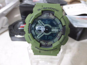 New Casio G Shock Olive Green Military 50mm World Watch