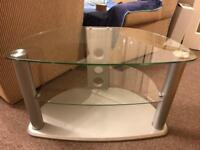 Silver and glass tv stand.