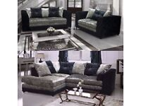 ***CRUSH VELVET Fabric*** Brand New Byron Cord + Leather Corner Sofa Or 3 +2 Seater Sofa