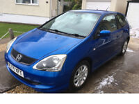 HONDA CIVIC 1.6SE 3DR HATCHBACK, METALLIC BLUE, FSH, GREAT COND FOR THE YEAR