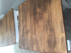 White brown wooden end tables