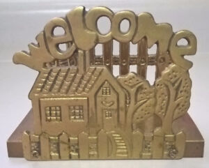 Brass Welcome Napkin Holder, Paper/ Letter Holder House design