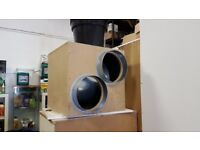 USED TORNADO Twin Inlet!! Acoustic 10inch (250mm) Wooden Box Fan/hydroponics/grow room ventilation