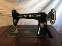 Vintage Singer Table Sewing Machine with Foot Pedal