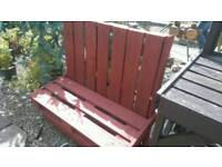 Garden High Backed Bench (Recycled Pallets) 4' wide