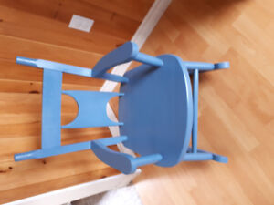 Real wood blue child rocking chair