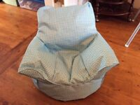 Blue checked toddler / child's beanbag style chair