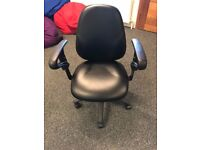 Office Leather Chair, Adjustable Height and Back, Black, Perfect condition