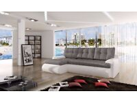 New Calasetta faux leather & fabric corner sofa bed settee with storage in Black/Grey or White/Grey