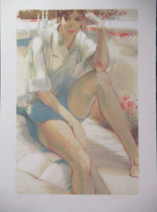 """Limited Ed Lithograph Print """"Seated in a Garden"""" by Jim Jonson!"""