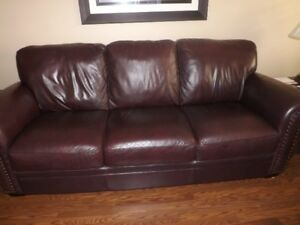 Burgundy ALL Leather Sofa