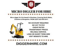 Micro Digger for Hire from just £43 per day!