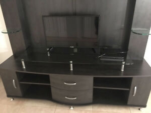 Tv stand with glass shelf and drawers