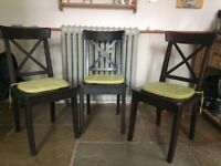 3 wooden black Ikea kitchen/dining chairs with seat pads