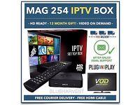 -ORIGINAL INFOMIR-MAG 254 /255 -IPTV HD IPTV BOX/12 MTHs ALL PREMIUM CONTENT-£185-OPENBOX