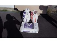 3 bags of plaster and roll of tape , 2 bags opened 1 unopened and a roll of tape