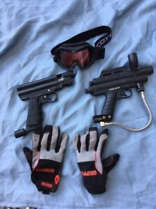 Paintball gloves goggles and equipment