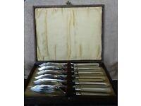 Bone Handled Silver Fish Knife Set