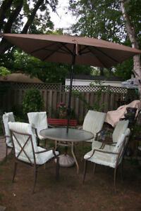 9 Pieces Glass Table 6 Chairs With Pads Patio Set.