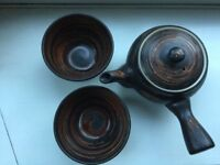 Japanese Tea Pot with two matching cups